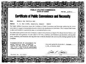 Hawaii Car Service PUC Certificate