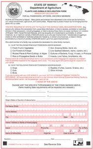 Hawaii Agricultural Declaration Form